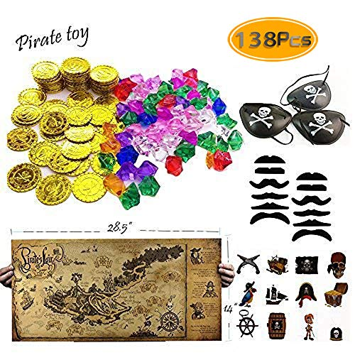 TKOnline 138 piece Pirate Party Supplies and Pirate Favor Toy Bundle( Gold Coins,Pirate Gems, Gemstone Rings,Tattoos, Mustaches, Eye Patches,Maps)
