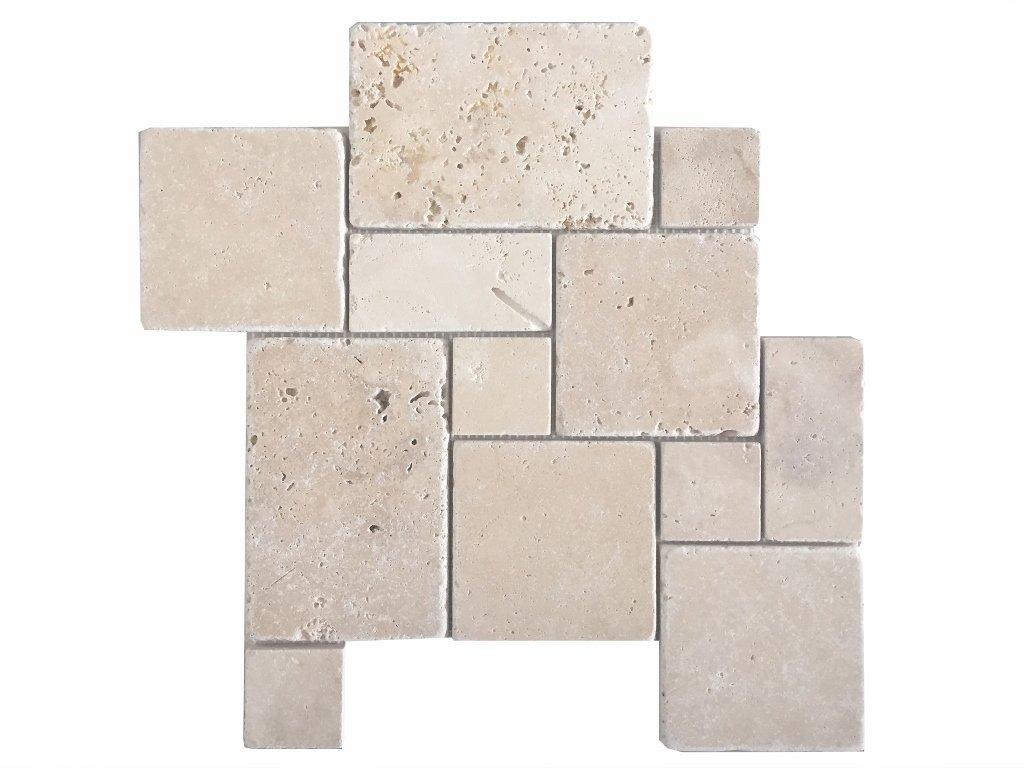 Wohnrausch Travertin Mosaiknetz crema im Römischen Verband, 10 Stück ...