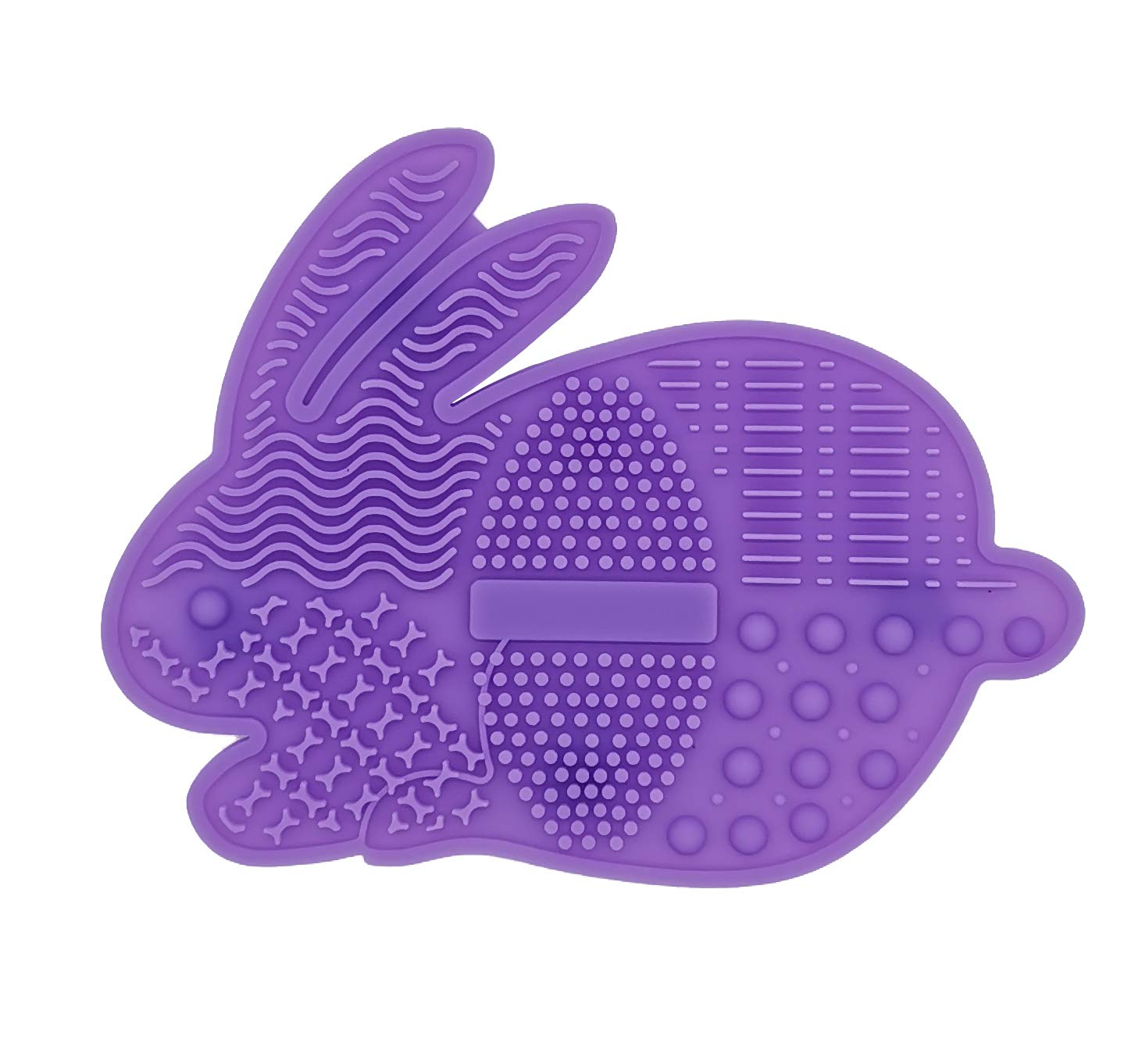 WAVALP Makeup Brush Cleaner Mat, Makeup Brush Cleaning Pad, Cosmetics Brush Cleaner, Portable Silicone Beauty Blender Washing Tool Scrubber Suction Cup (Purple 1 Piece)