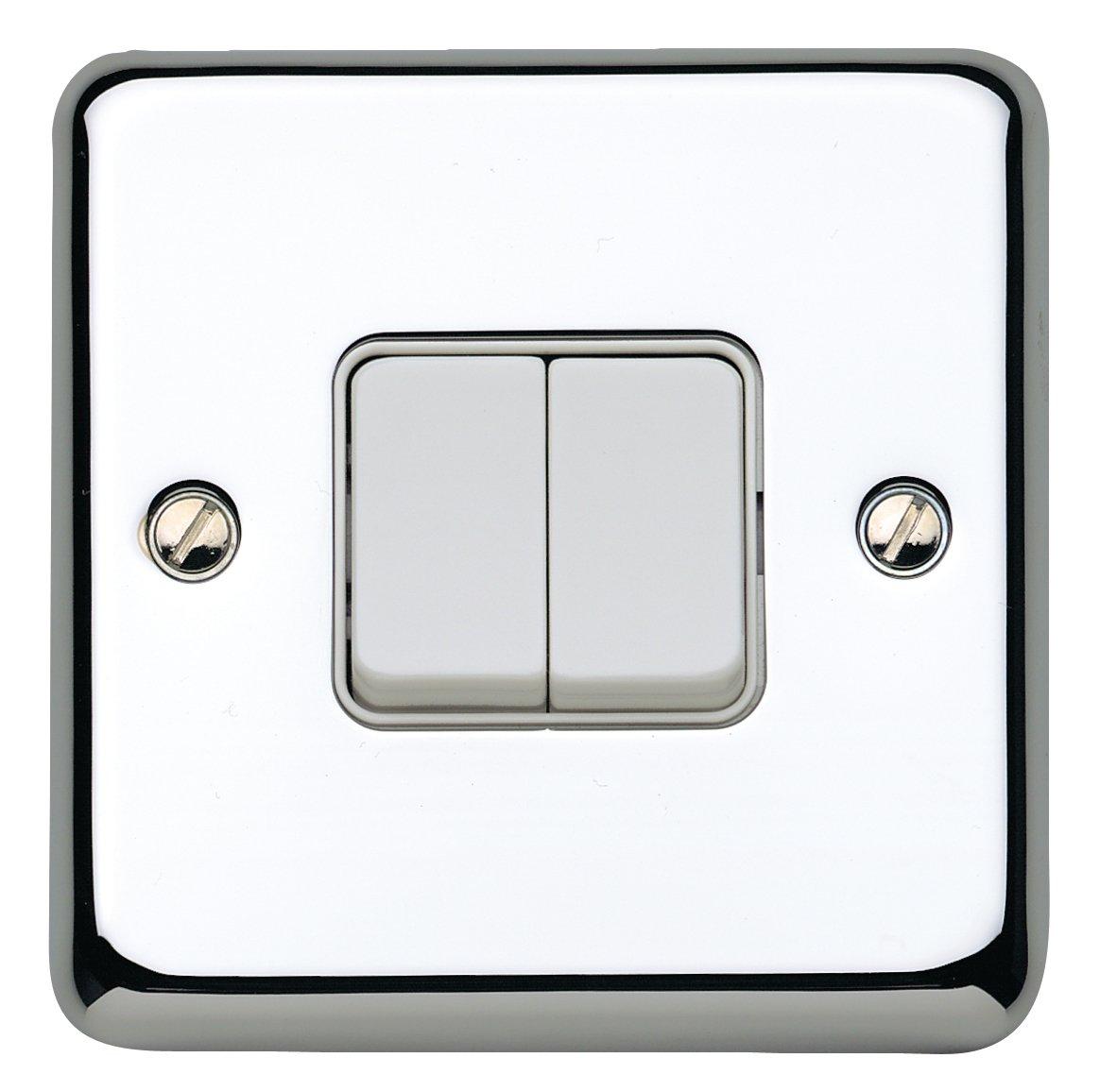 MK Chroma Plus K4672PCR 10A 2-Gang 2-Way Single Pole Switch