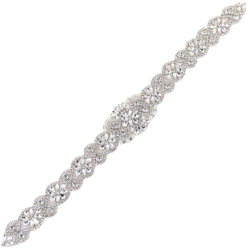 XINFANGXIU Rhinestone Wedding Applique, Crystal Bridal Belt Applique Pearls Beaded Dacorations Handcrafted Sparkle Elegant Thin Sewn or Hot Fix for Women Gown Evening Prom Dresses Sashes - Silver