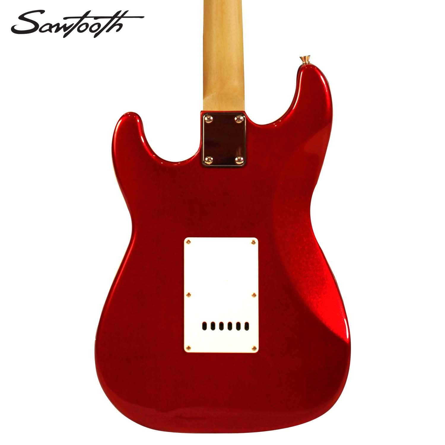 Sawtooth St Es Carp Kit 2 Candy Apple Red Electric Wiring Diagram Stratocaster Whammy Bar Guitar With Pearl White Pickguard Includes Accessories Gig Bag And Online Lesson Musical
