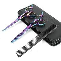 """KYG Set 2 Ciseaux Coiffure 6.0"""" Professionnels et de Coupe de Cheveux Amincissement en Acier Inoxydable Désépaissir Effiler Sculpteur + Peigne De Coiffure avec Emballage - Versicolore"""