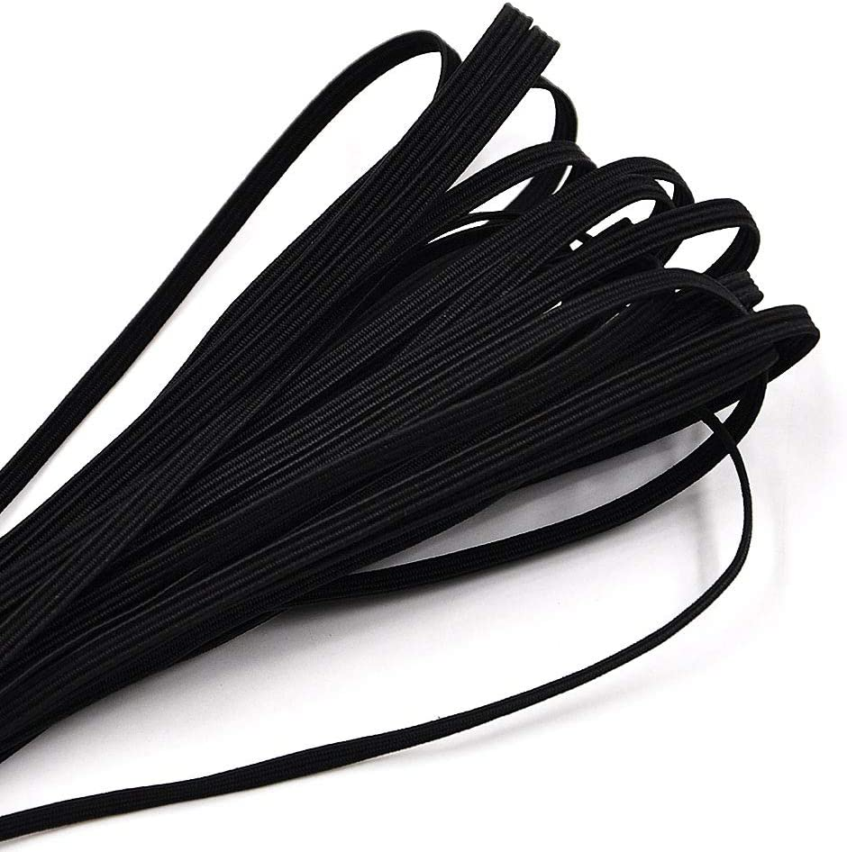 Flat Waistband Elastic Stretchy Strap Cord Roll Black 1-30 Yards 3mm Width Flat Elastic Band White Black Elastic Ribbon for Sewing and Crafts