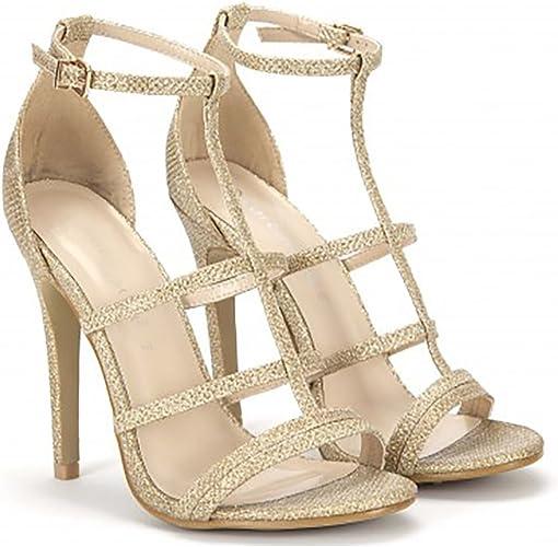 gold open toe strappy heels