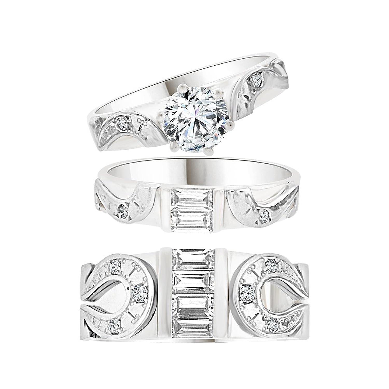 amazoncom 14k white gold trio 3 piece wedding ring set horseshoe created cz crystals 10ct jewelry - Horseshoe Wedding Rings
