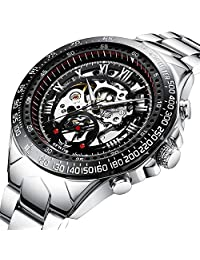 Watch Mens Watches Luxury Business Stainless Steel Dress Mechanical Waterproof Automatic Analog Wristwatch Fashion Classic Skeleton Roman Numeral Punk Style Silver Black