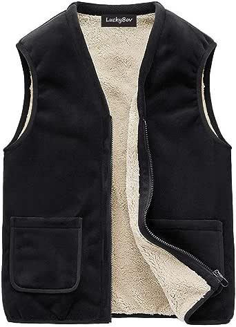 LuckyBov Men V-Neck Casual Waistcoat Polar Fleece Lined
