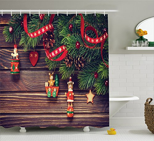 Christmas Shower Curtain by Ambesonne, Christmas Bathroom Accessories Brown Rustic Wood Backdrop December Old Fashioned Christmas Time Theme Jesus Ribbon, Polyester Fabric Set with Hooks, Green (Old Time Santa)