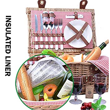 SatisInside New 2019 USA Insulated Deluxe 16Pcs Kit Wicker Picnic Basket Set for 2 People – Reinforced Handle – Red Gingham