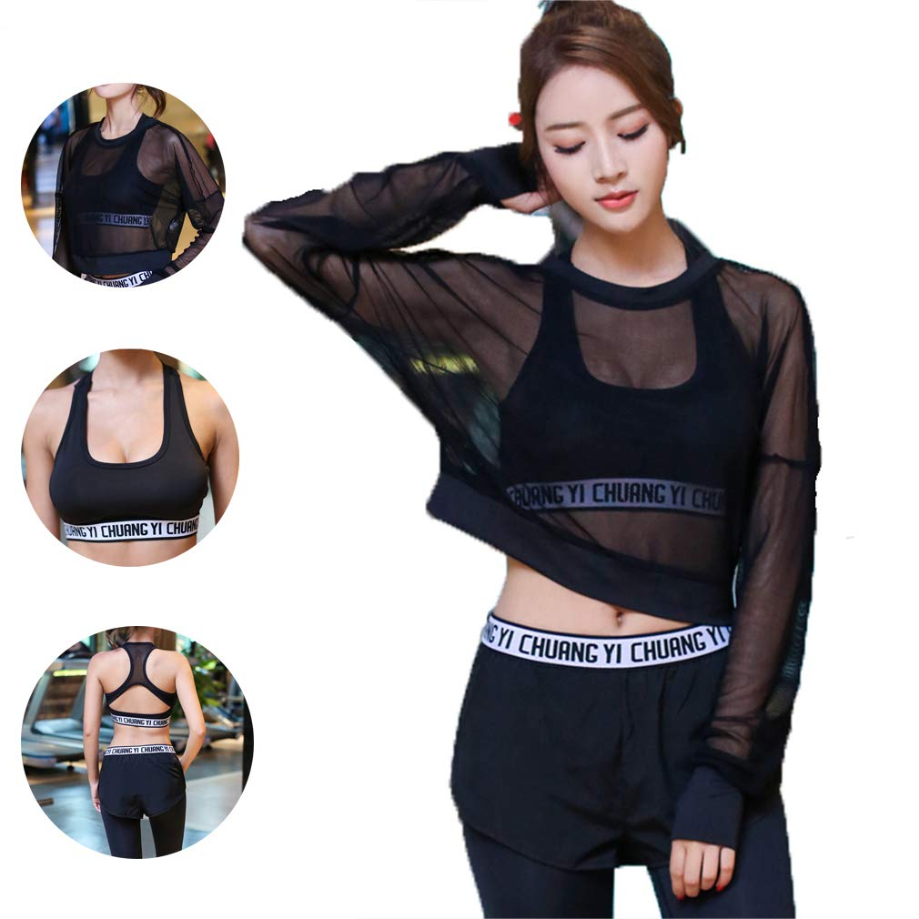 Black Yoga wear Running Suit, Ladies Workout Clothes, QuickDrying mesh Yoga ThreePiece Suit, Running Suit, Dance Suit, Black and White