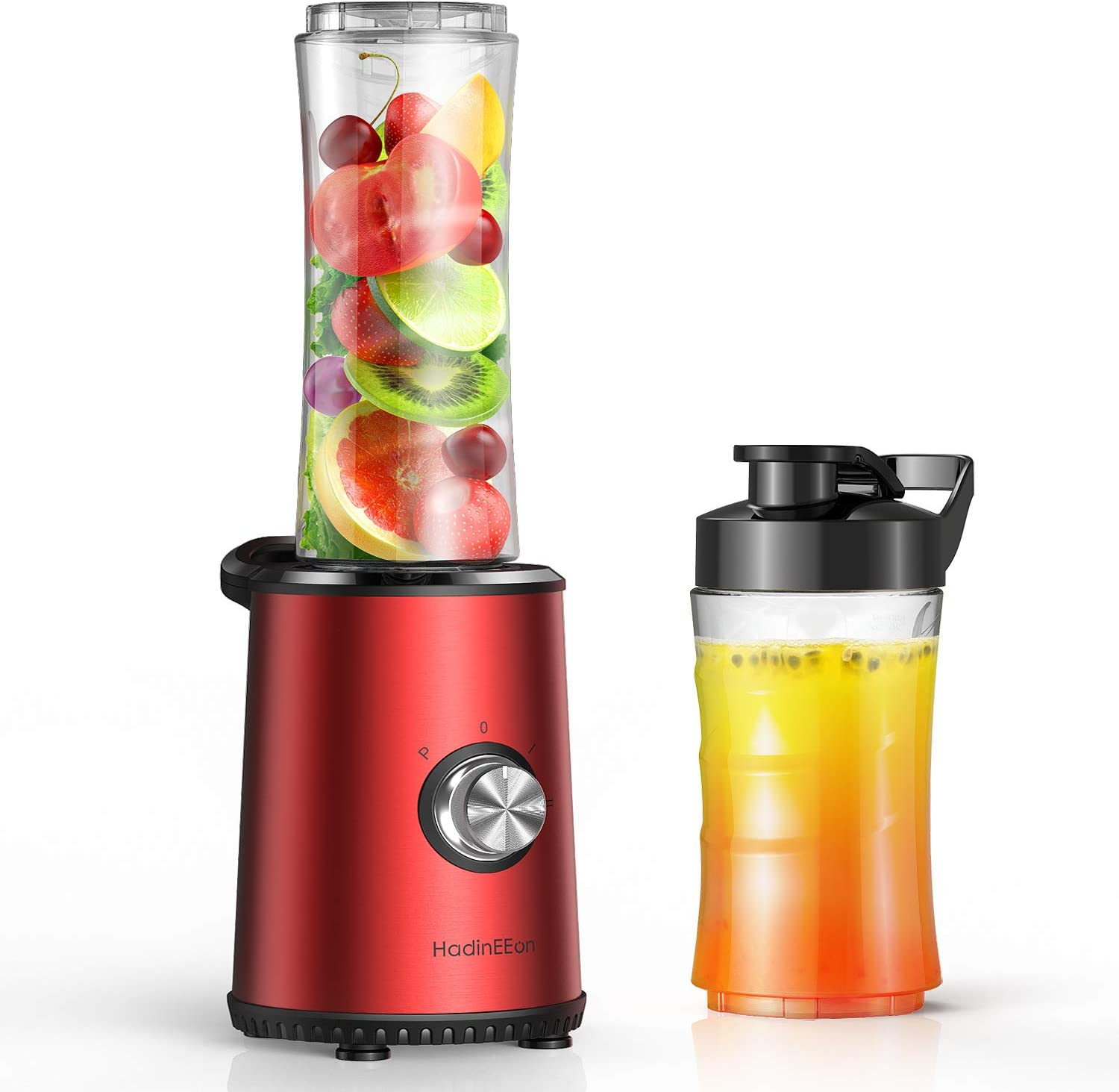 HadinEEon Smoothie Blender, 3 Speeds Adjustable Personal Blender for Shakes and Smoothies, Single Serve Blender with 20oz & 10oz Tritan BPA-Free Cups & Portable Lids
