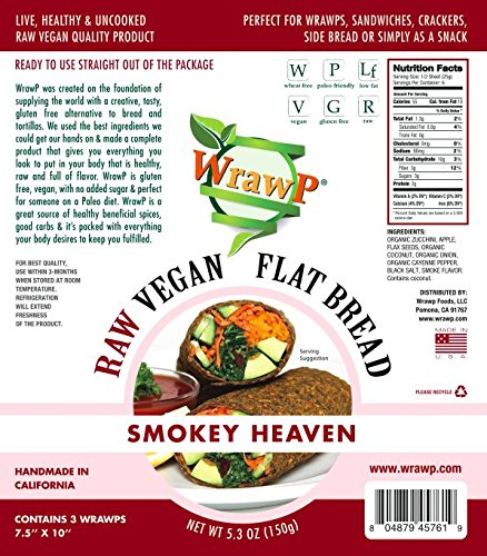 Raw Vegan Flat Bread, Smokey Heaven, Paleo, 5.3 Oz, 3 Wraps