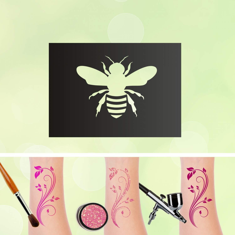 Plantilla de tatuaje de abeja con purpurina, autoadhesiva, para ...