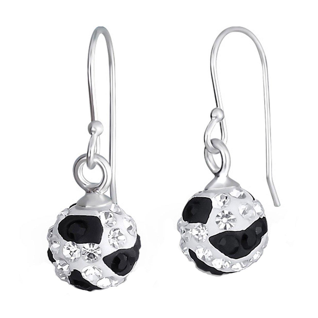 Sterling Silver Preciosa Crystal Drop Ball Earrings