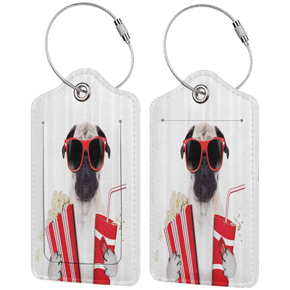 Multicolor luggage tag Pug Going to the Movies Pug Dog Popcorn Soft Drink Movie Star Glasses Animal Fun Image Hanging on the suitcase Cream Red Black W2.7 x L4.6