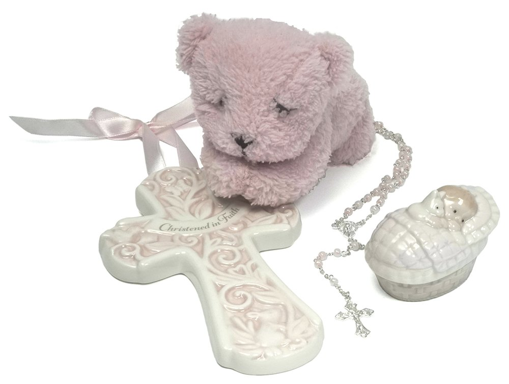 Baby Christening/Baptism Gift Set with Crib Wall Cross, Praying Bear and Rosary Beads in Keepsake Box for Christening Boys and Girls (Pink)