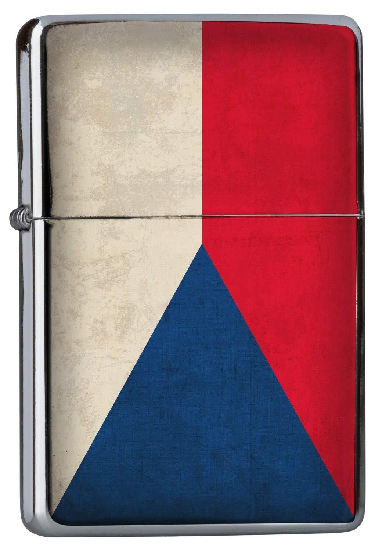Cromato Accendino Benzina Viaggio Mondo Repubblica Ceca bandiera Ricaricabile Leotie GmbH