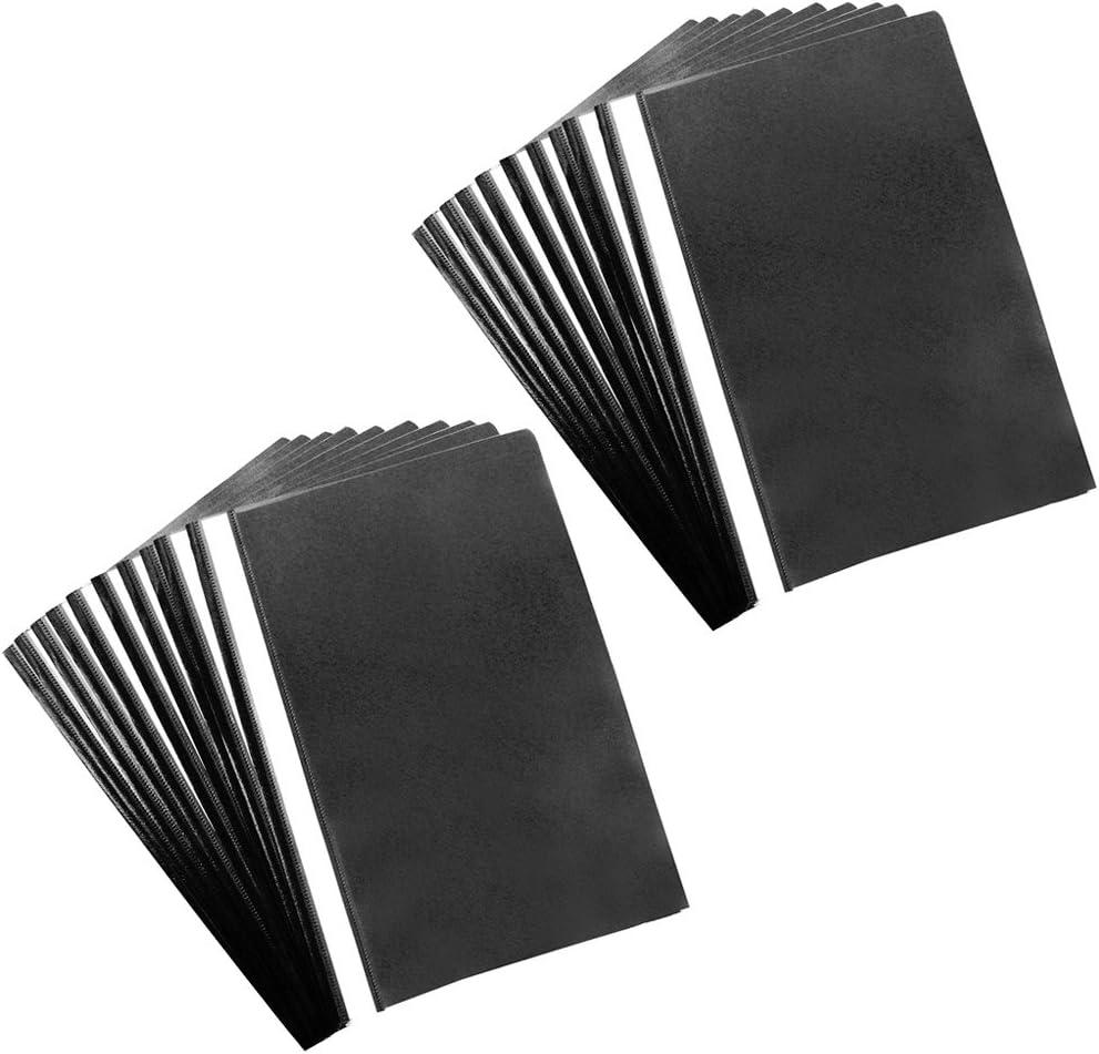com-four® 20x Folder A4 - Grapadora con Tiras de rotulación - Grapadora de plástico para la Escuela, la Oficina y el hogar - Sin PVC (20 Piezas - Negro)