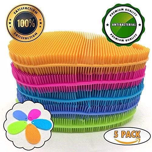 Non Stick Cleaner (FTeam Silicone Sponge Dish Scrubber Brush for Kitchen, Antibacterial Multifunctional Non Stick Cleaning Sponge, Pot Dish Cup Bowl Cleaner Brush, Fruit and Vegetable Cleaner, Mix Colors (Pack of 5))