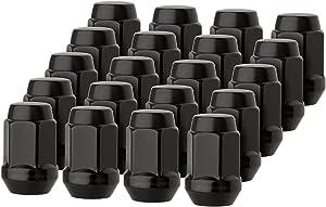 "DPAccessories LCB3B2HE-BK04020 20 Black 1/2-20 Closed End Bulge Acorn Lug Nuts - Cone Seat - 3/4"" Hex Wheel Lug Nut"