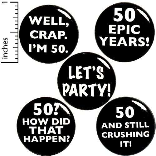 Amazon com: 50th Birthday 5 Pack Funny Buttons Pins or