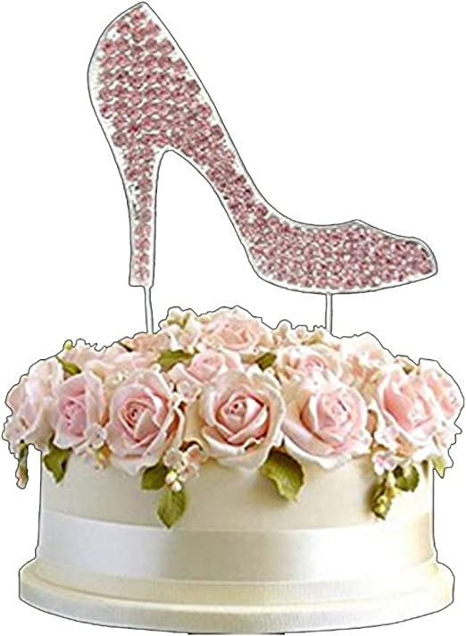 Wondrous Amazon Com Rhinestone Pink Diamante High Heel Shoe Birthday Cake Birthday Cards Printable Opercafe Filternl