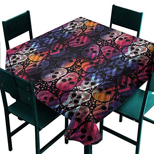 DONEECKL Square Tablecloth Halloween Mexican Sugar Skulls for Kitchen Dinning Tabletop Decoration W70 xL70]()