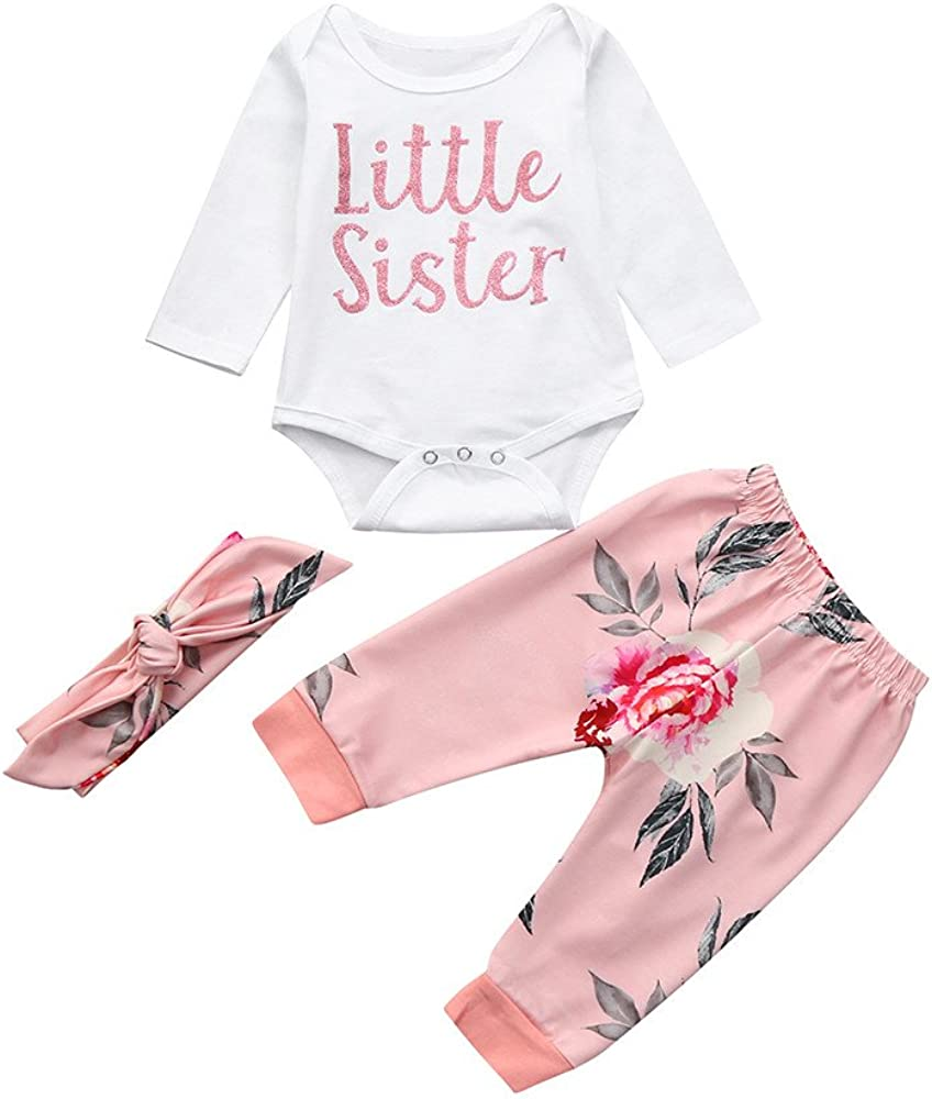 Headbands 3PC Set Infant Girls Jumpsuit Outfits XUANOU Baby Little Sister Letter Print Long Sleeve Romper Camouflage Pants