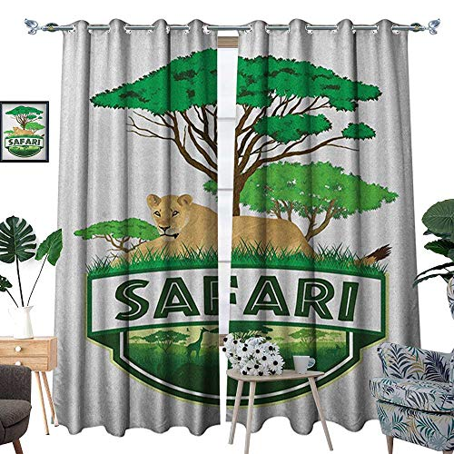 Warm Family Safari Window Curtain Fabric African Savannah with Lion and Green Trees Wilderness Exotic Nature Drapes for Living Room W72 x L96 Sand Brown Hunter Green from Warm Family