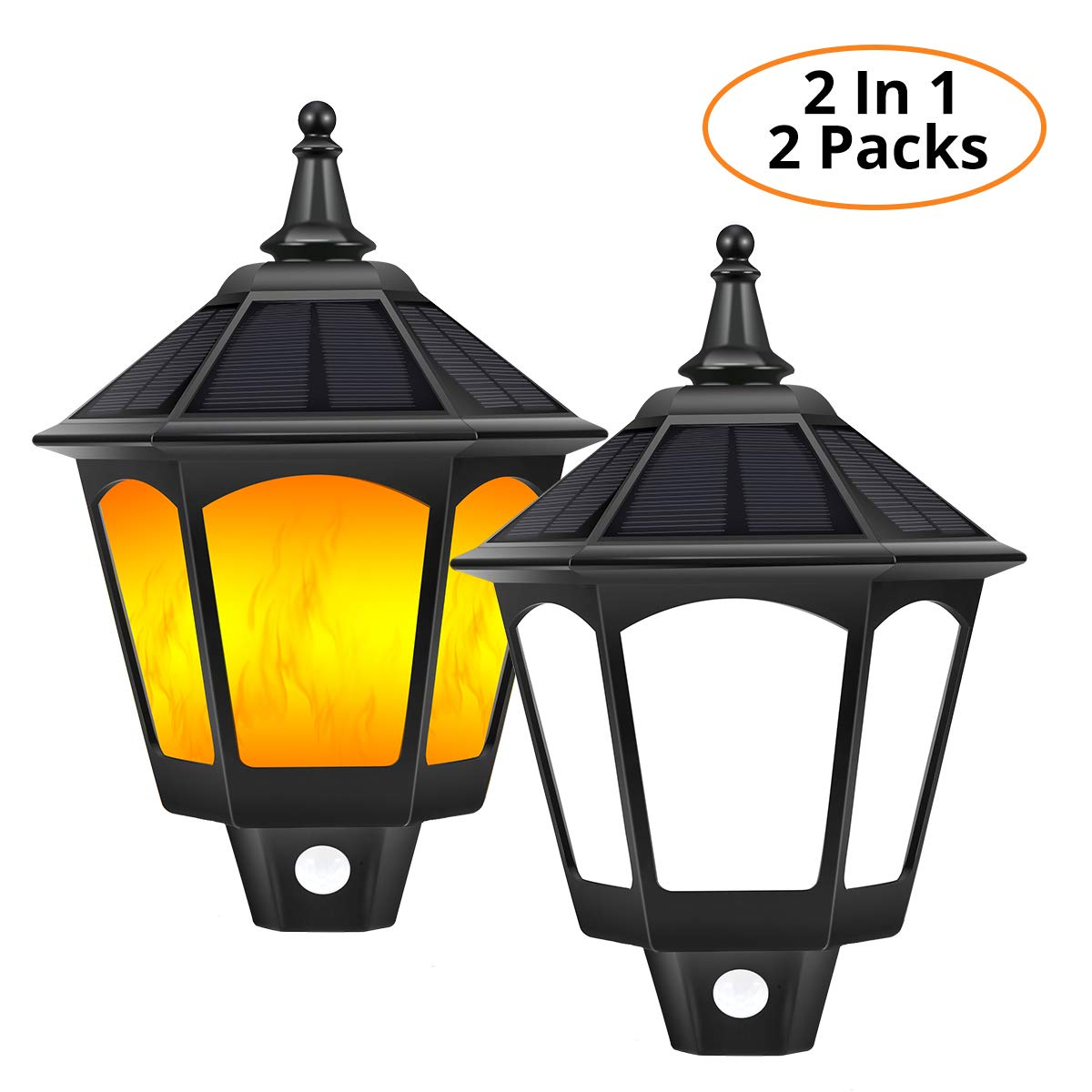 Solar Wall Lights Outdoor, B-right 2 in 1 Motion Sensor Wall Lights 6000k White Light + Dusk to Dawn Auto On/Off Warm Flickering Flames Lights for Garden Yard Pathway Front Door Patio Porch 2 Packs [Energy Class A+++] BD003J12CT-BK*2