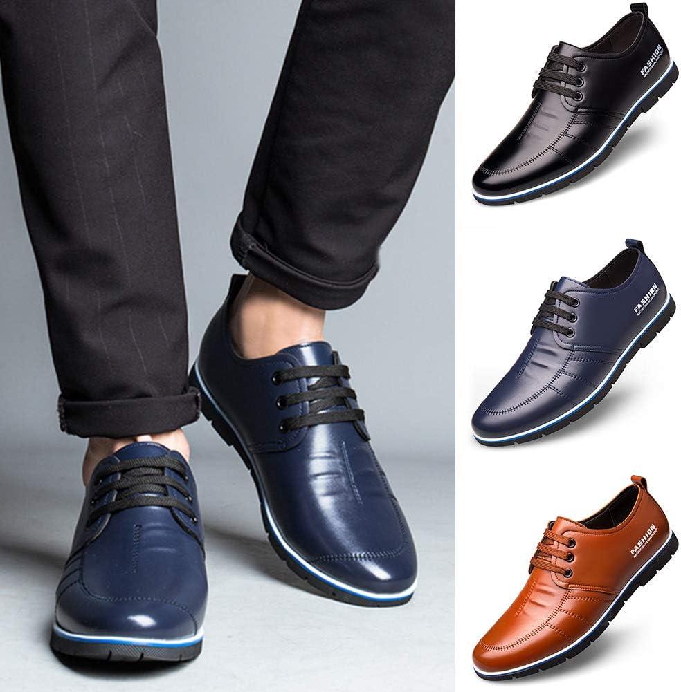 GCDN Hommes Chaussures Confortables Chaussures L/ég/ères pour Hommes Respirant Microfibre en Cuir en Cuir /À Lacets Non-Slip Chaussures De Mode Chaussures De Marche pour Les Affaires 40,Blue