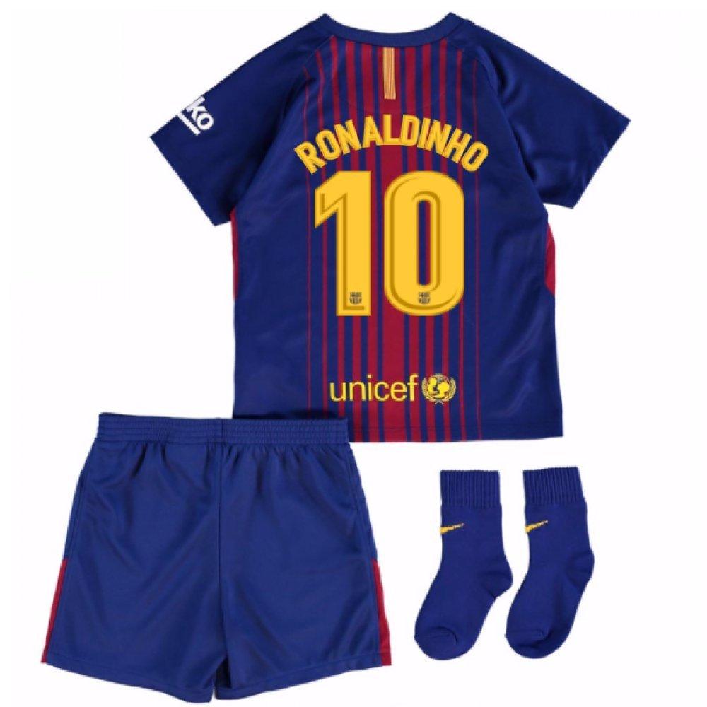 2017-18 Barcelona Home Baby Kit (Ronaldinho 10) B077PNTGN1Red 24/36 Months