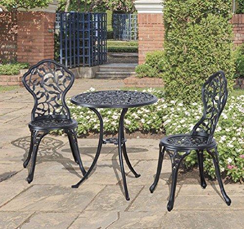 Cast Aluminum Patio Bistro Furniture Set 3pcs in Antique Black Outdoor Furniture