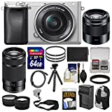 Sony Alpha A6300 4K Wi-Fi Digital Camera & 16-50mm (Silver) with 55-210mm & 50mm Lenses + 64GB Card + Case + Battery & Charger + Flex Tripod + Kit