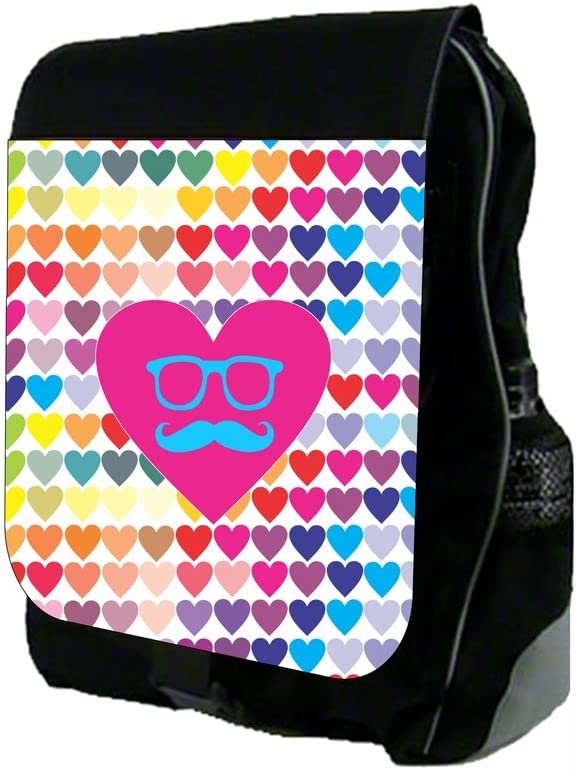 Hipster Hearts Pattern School Backpack and Pencil Case Set