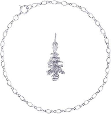 Rembrandt Sterling Silver Two-Tone 3-D Christmas Tree Charm on Sterling Silver Rope Chain Necklace