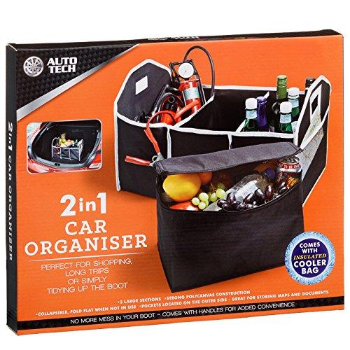 auto-tech nero 2 in 1 organizer per bagagliaio con borsa termica shopping Tidy Heavy Duty pieghevole pieghevole bagagli picnic Tools Auto Tech