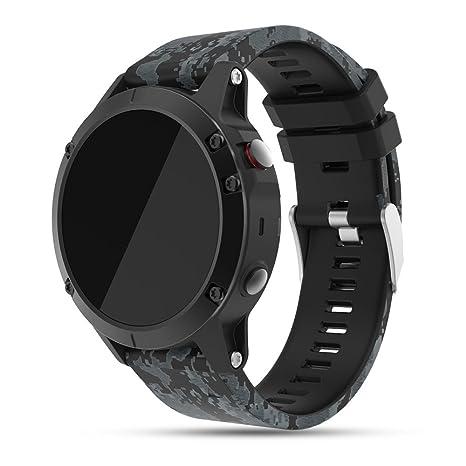 Feskio - Correa de repuesto para reloj Garmin Fenix 5 GPS, correa de silicona suave de liberación ...
