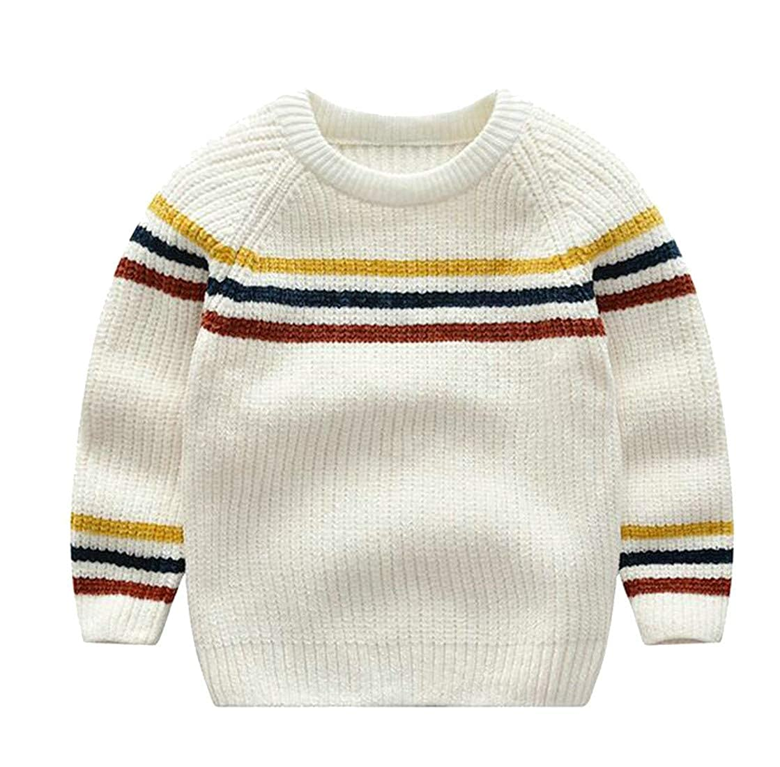 Hajotrawa Boys Knitted Round Neck Casual Stripe Cozy Pullover Jumper Sweaters