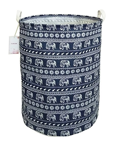 CLOCOR Large Storage Bin-Cotton Storage Basket-Round Gift Basket with Handles for Toys,Laundry,Baby Nursery(Elephant)