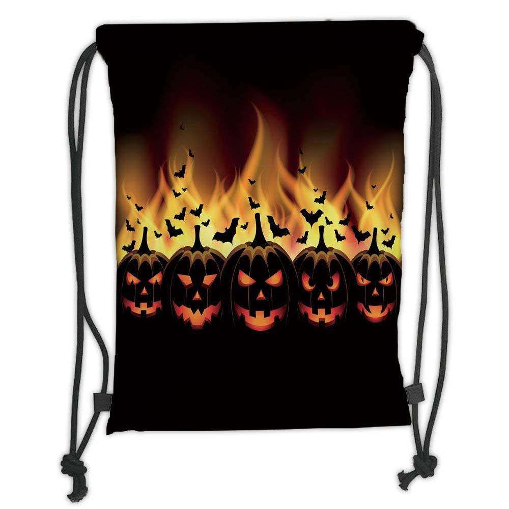 Custom Printed Drawstring Backpacks Bags,Vintage Halloween,Happy Halloween Image with Jack o Lanterns on Fire with Bats Holiday Decorative,Black Scarlet Soft Satin,5 Liter Capacity,Adjustable STR Jiuying bags