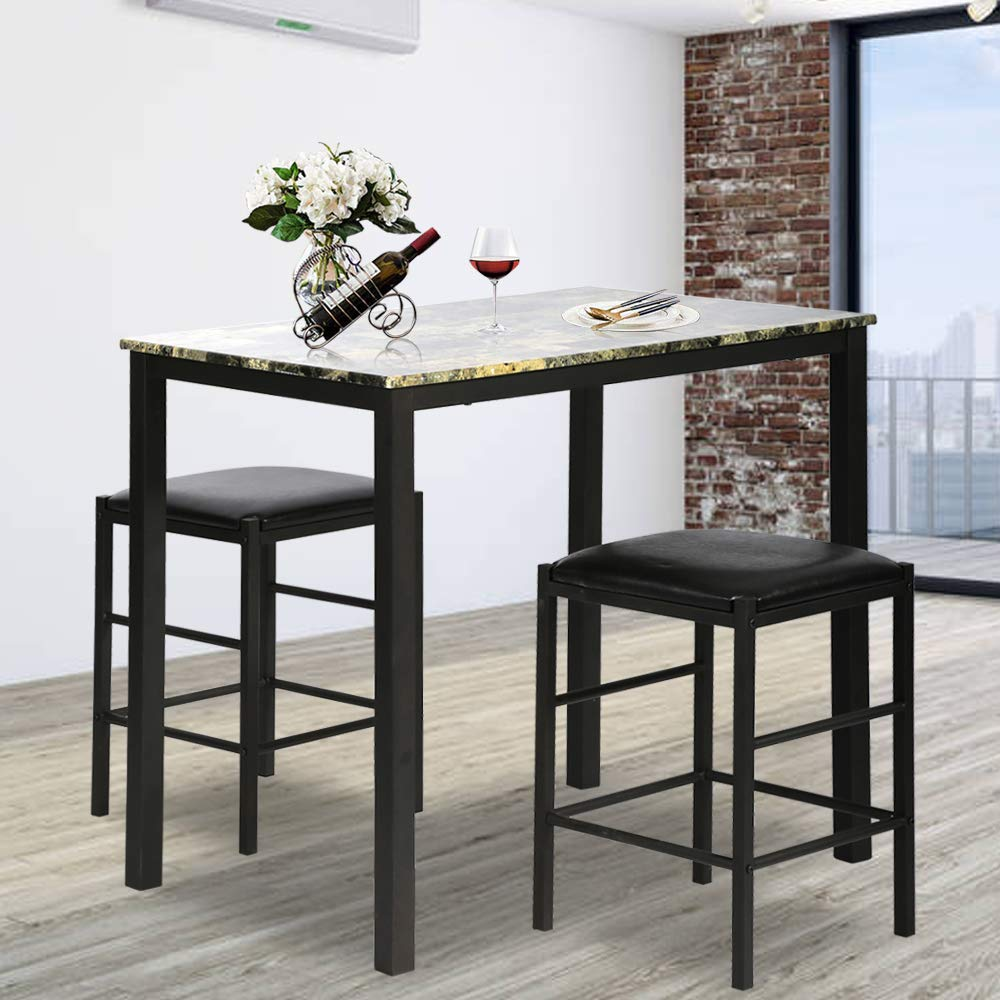 Rectangular Kitchen Dining Table Set Contemporary Dining Set Faux Marble Tabletop 3 Pcs Dining Room Table and Chairs Set for Home or Hotel Dining Room, Kitchen or Bar Dark Brown by Bigacc