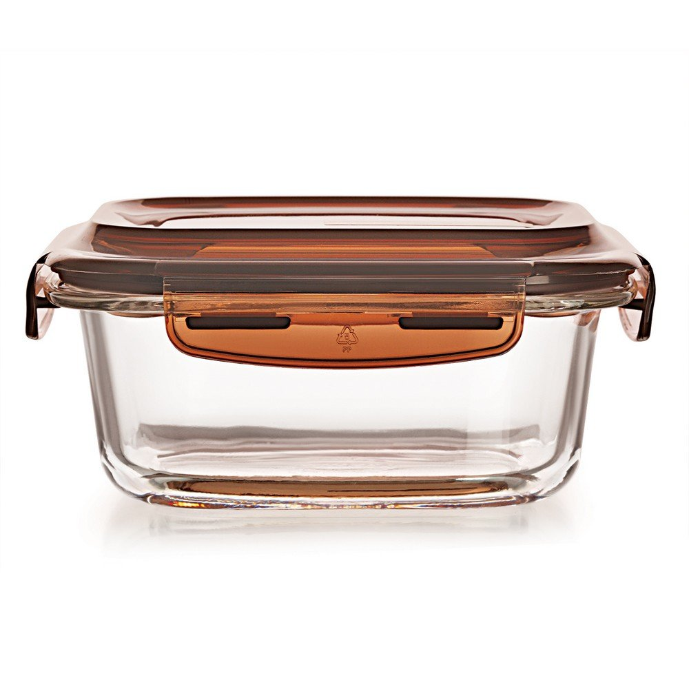 Cello Piedo Rectangle Glass Container with Lid, 340ml/7.1cm, Clear