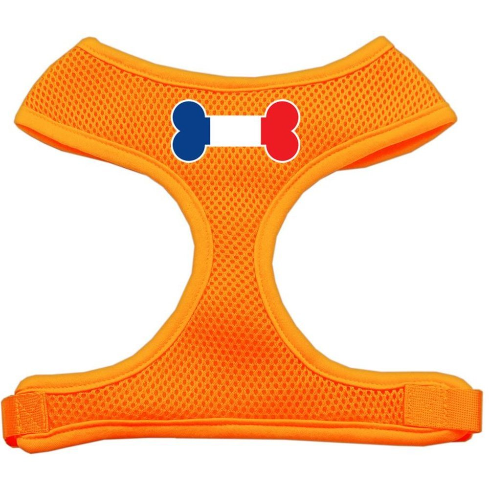 Mirage Pet Products Bone Flag France Screen Print Soft Mesh Dog Harnesses, X-Large, orange