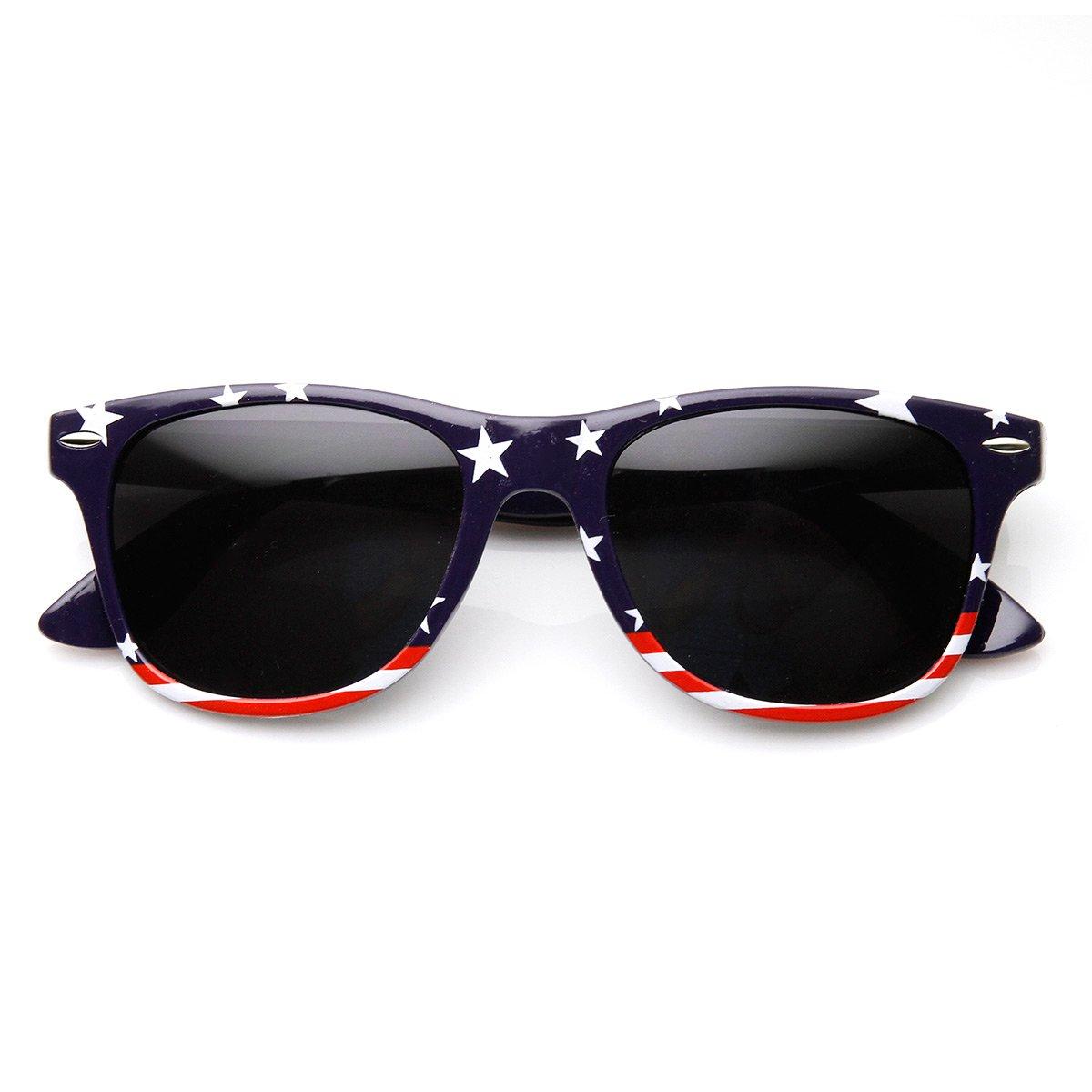 American Flag USA Stars and Stripes Horn Rimmed Sunglasses U.S