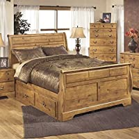 Ashley Bittersweet Wood Queen Double Drawer Sleigh Bed in Light Brown