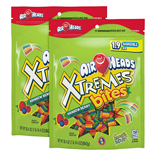 AirHeads Xtremes Bites, Rainbow Berry, 30.4 OZ Stand Up Bag (Pack of 2)