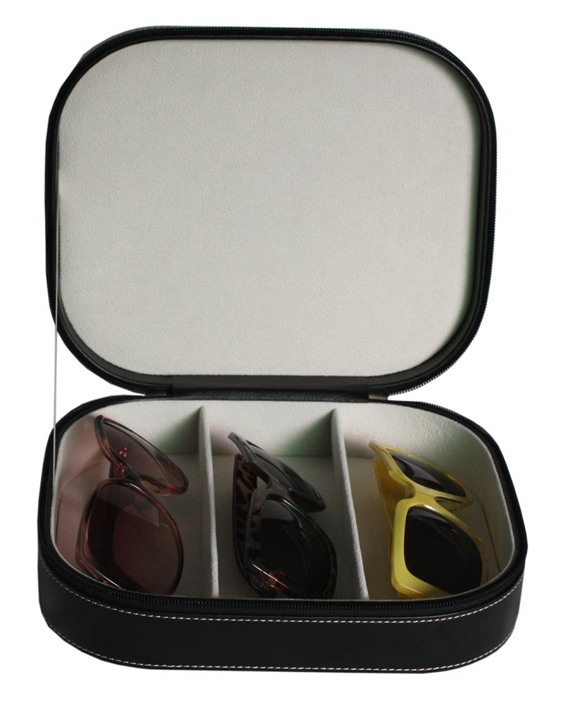3 Piece Extra Large Travel Eyeglass Sunglass Glasses Watch Zippered Case Storage Organizer Collector Box
