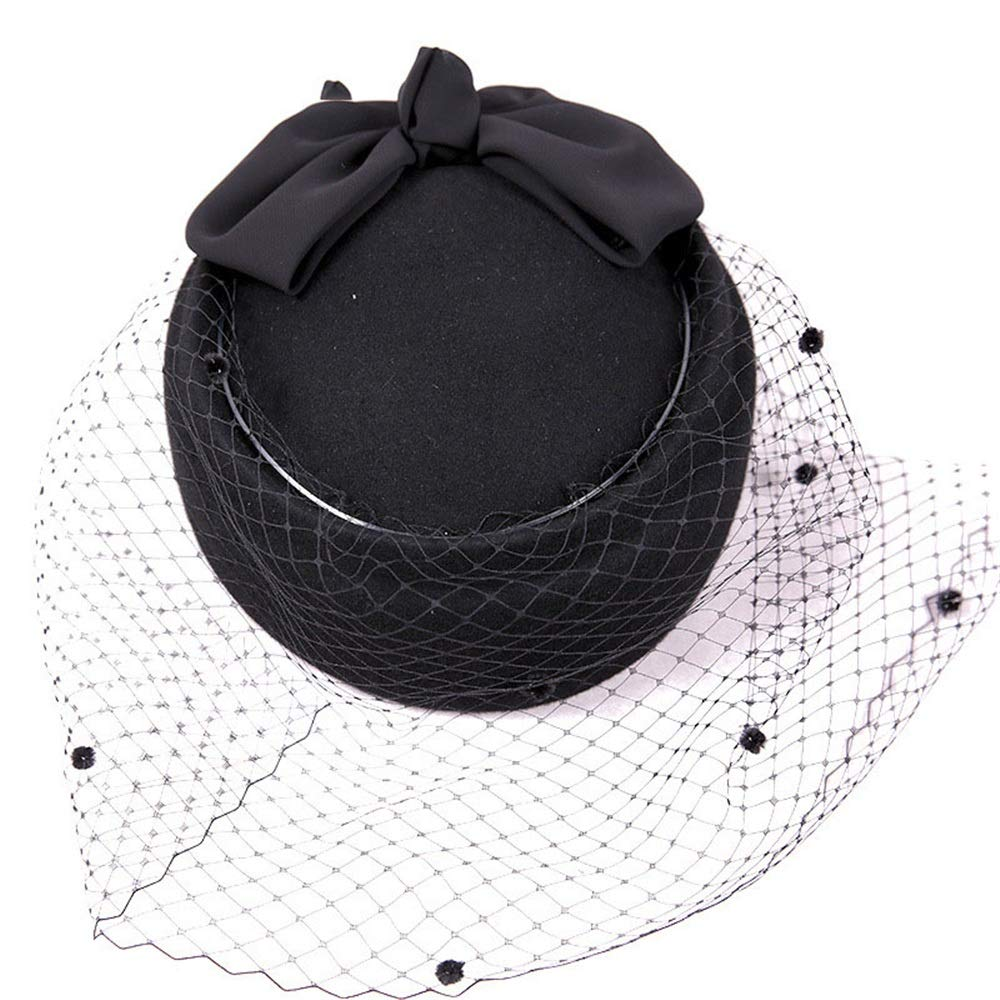 Zhao Xiemao Mesh Wool Felt Crimping Ribbon Bow Winter Floppy Hats Bowler Hats for Women Color : Burgundy